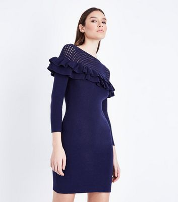 Mela Navy Frill Pointelle Yoke Knit Dress