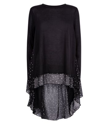 QED Black Star Print Back Top New Look