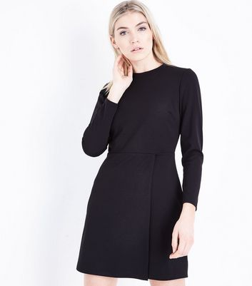 Black Crepe Wrap Skirt Mini Dress New Look