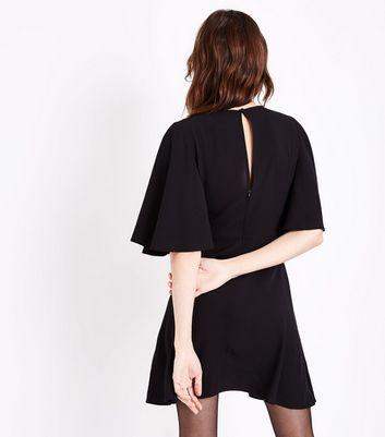 Black Keyhole Tie Front Mini Dress New Look