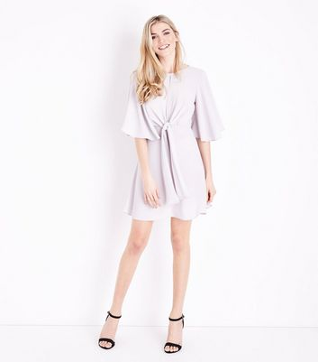 Grey Keyhole Tie Front Mini Dress New Look