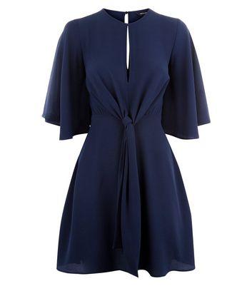 Navy Keyhole Tie Front Mini Dress New Look
