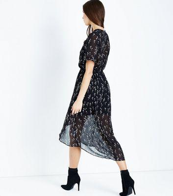 Black Floral Chiffon Dip Hem Midi Dress New Look