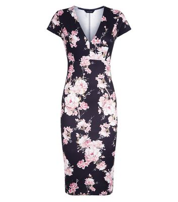 Black Floral Print V Neck Scuba Midi Dress New Look