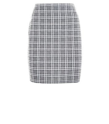 Light Grey Check Jersey Mini Skirt New Look