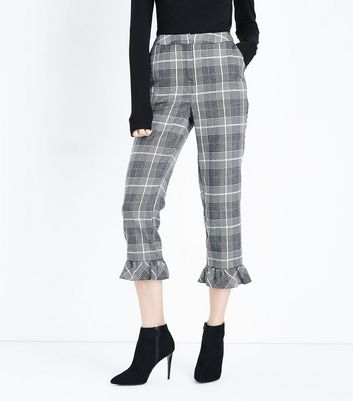 Light Grey Glitter Check Frill Hem Trousers New Look