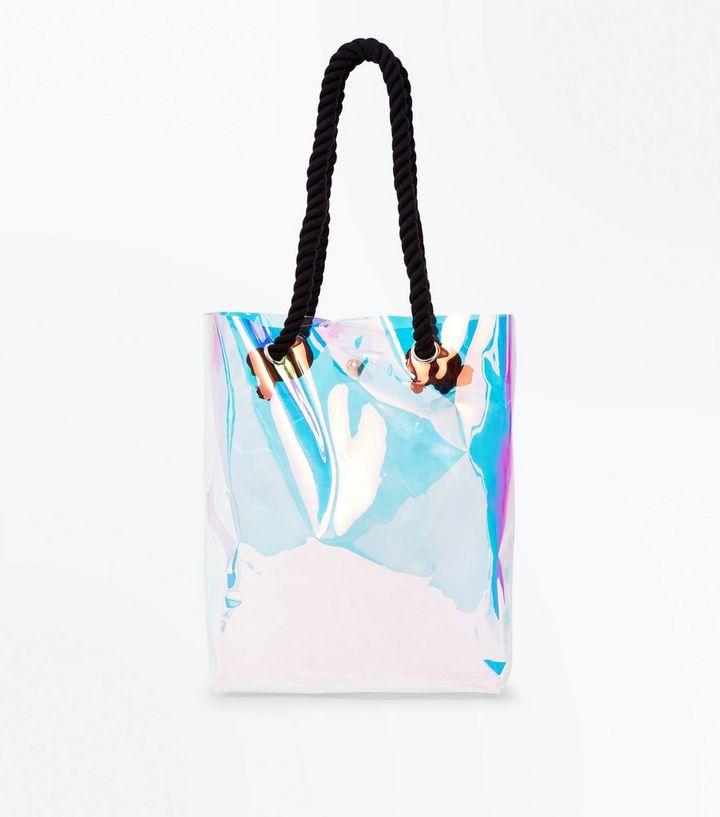 acheter populaire 42dc5 54975 Sac cabas transparent à motifs holographiques et bandoulière en corde  Ajouter à la Wishlist Supprimer de la Wishlist
