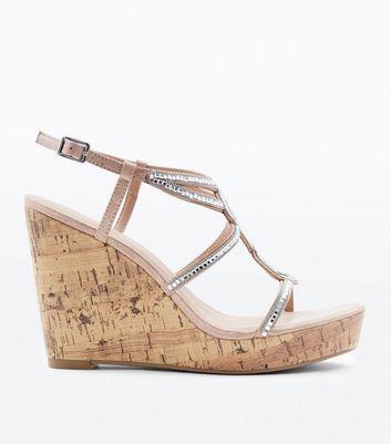 Chaussures couleur or rose à pierres et plateformes compensées New Look