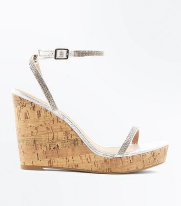 Silver Diamante Embellished Cork Wedges New Look