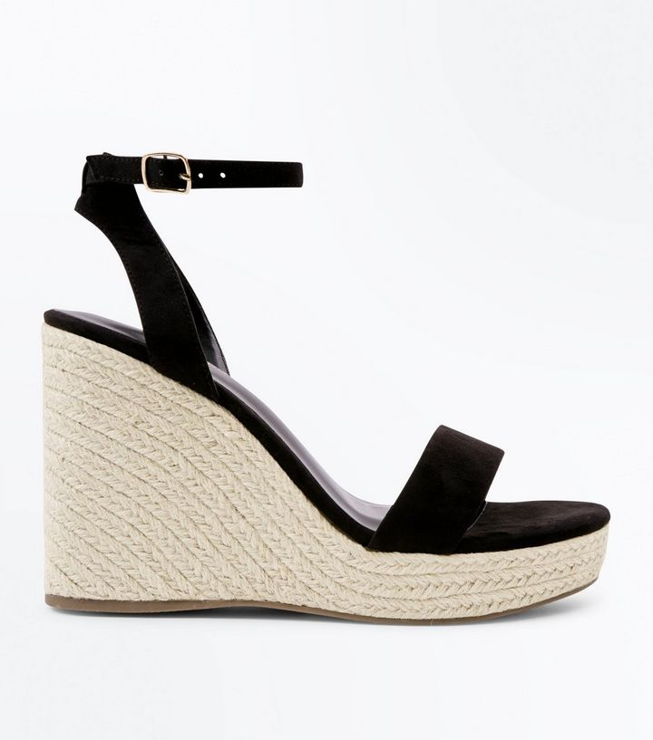 8f90edb10f4 Black Suedette Ankle Strap Espadrille Wedges Add to Saved Items Remove from  Saved Items