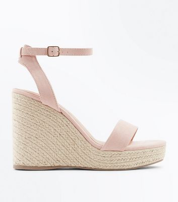 Nude Suedette Ankle Strap Espadrille Wedges