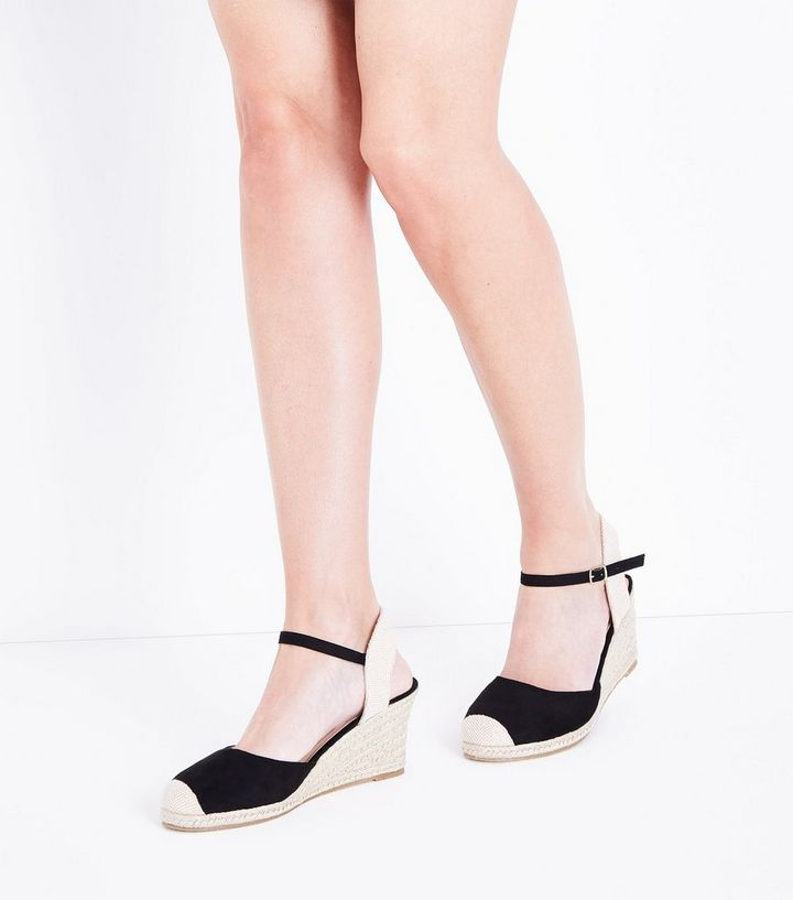 8aab067de10 Black Suedette Round Toe Espadrille Wedges Add to Saved Items Remove from  Saved Items