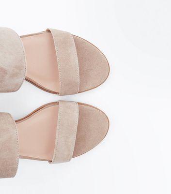 Mink Suede Low Block Heel Sandals New Look