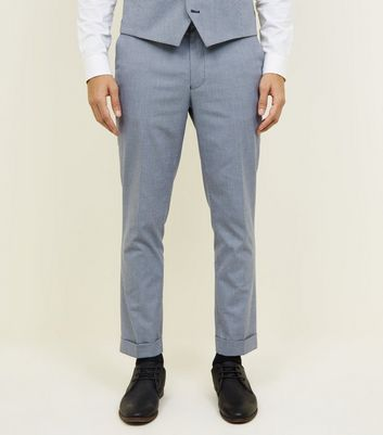 Grey Herringbone Skinny Cropped Suit Trousers