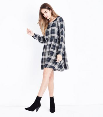 Apricot Green Oversized Check Smock Dress New Look