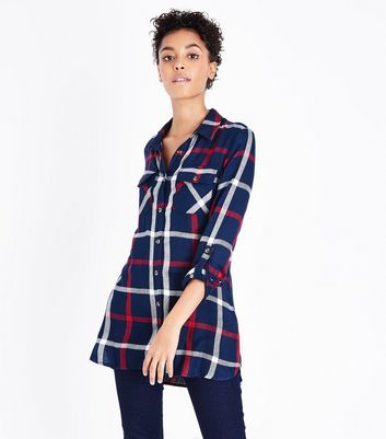 Apricot Navy Check Print Shirt New Look