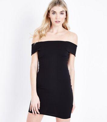 Black Scuba Bardot Neck Mini Dress New Look