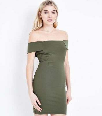 Khaki Bardot Neck Scuba Dress