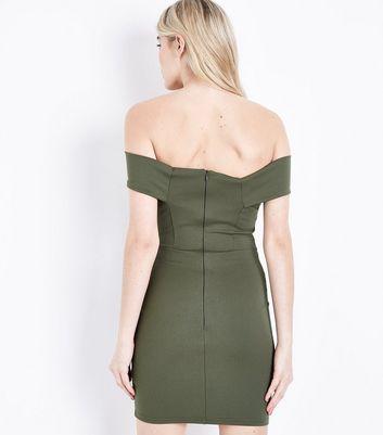 Khaki Bardot Neck Scuba Dress New Look