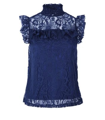 Apricot Navy Lace Frill Neck Top New Look