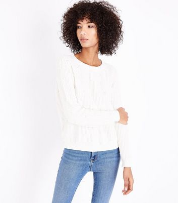 QED White Pearl Embellished Jumper New Look