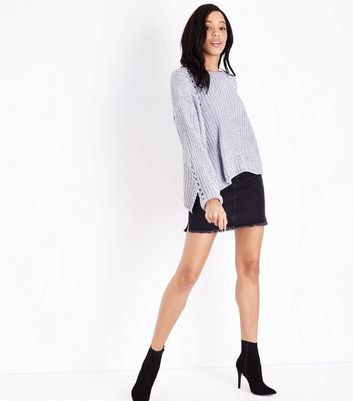 QED Grey Faux Pearl Embellished Ladder Knit Jumper New Look
