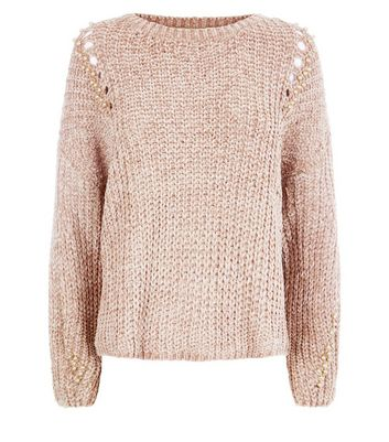 QED Camel Faux Pearl Embellished Ladder Knit Jumper New Look
