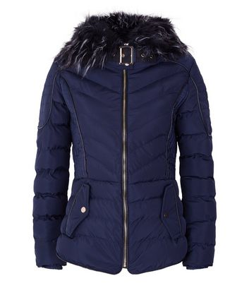 QED Navy Quilted Faux Fur Hood Trim Puffer Jacket New Look