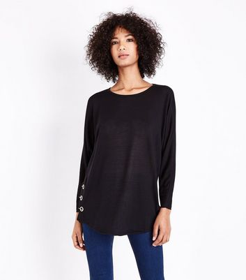 QED Black Eyelet Side Hem Top New Look