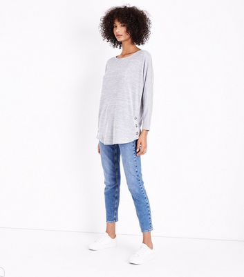 QED Pale Grey Eyelet Side Hem Top New Look