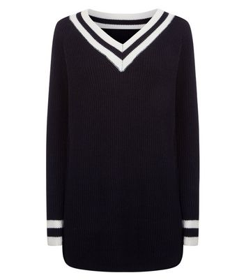 QED Black V Neck Cricket Jumper New Look