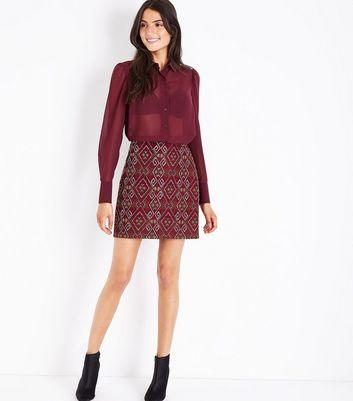 Burgundy Chiffon Step Hem Shirt New Look