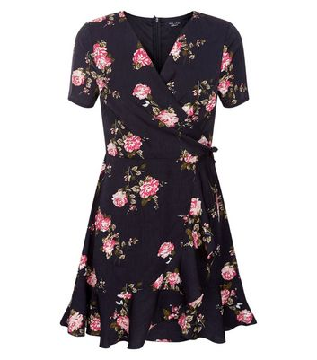 Teens Black Floral Print Wrap Front Dress New Look