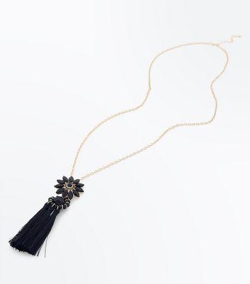 Black Flower Tassel Pendant Necklace New Look