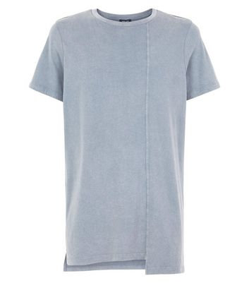Olive Seam Longline T-Shirt New Look