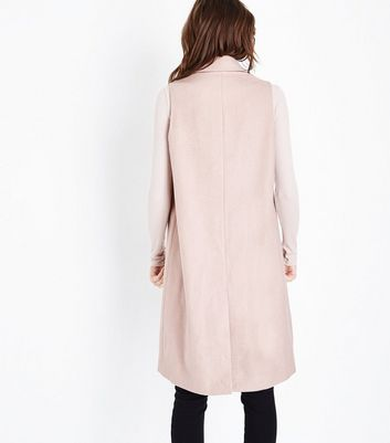Pale Pink Longline Gilet New Look