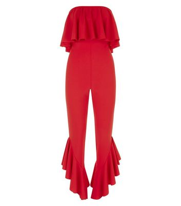 Red Frill Hem Bandeau Jumpsuit New Look