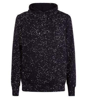 Black Spray Wash Hoodie New Look