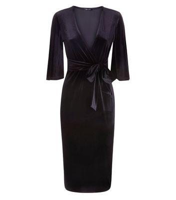 Black Velvet Wrap Front Midi Dress New Look