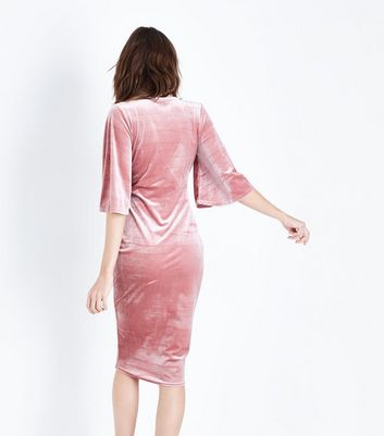 Pink Velvet Wrap Front Midi Dress New Look