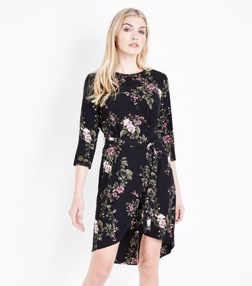 Black Floral Print Dip Hem Tunic Dress New Look