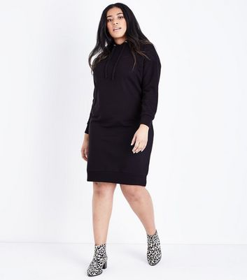 Curves Black Hooded Sweater Dress New Look