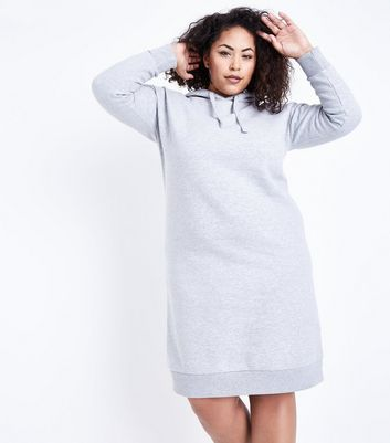 Curves Grey Hooded Sweater Dress New Look