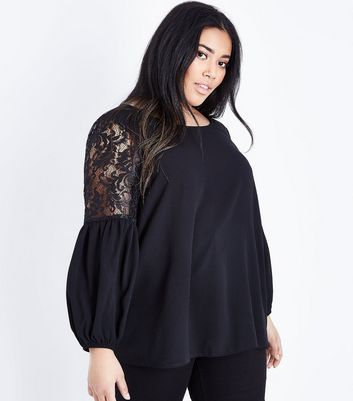 Curves Black Lace Balloon Sleeve Blouse New Look