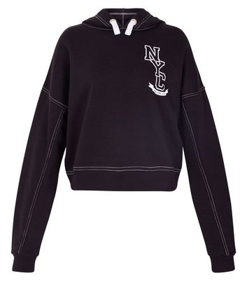 Teens Black NYC Contrast Stitch Hoodie New Look