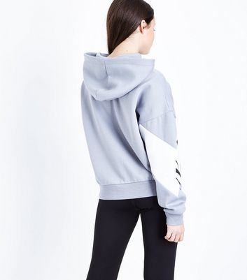Teens Pale Blue NCY Slogan Stripe Hoodie New Look