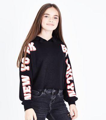 Teens Black New York Brooklyn Slogan Sleeve Hoodie New Look