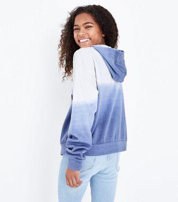 Teens Blue Chicago Print Ombre Hoodie New Look