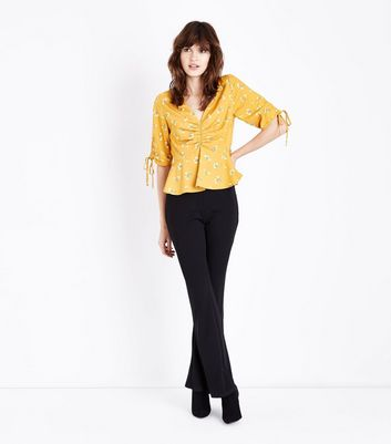 Yellow Floral Print Gathered Front Peplum Top New Look