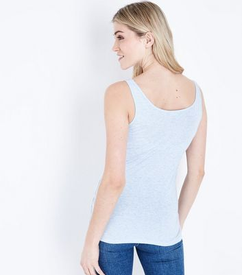 Pale Blue Scoop Neck Vest New Look